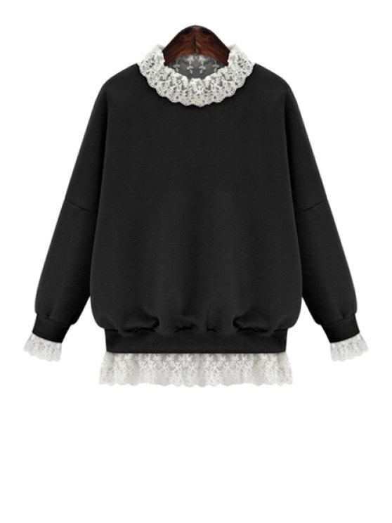 chic Lace Splicing Long Sleeves Sweatshirt - BLACK L