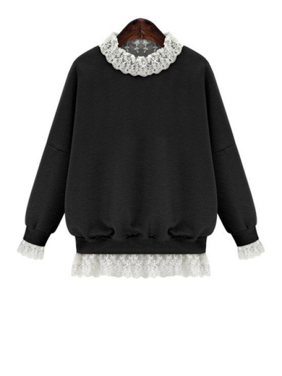 trendy Lace Splicing Long Sleeves Sweatshirt - BLACK S