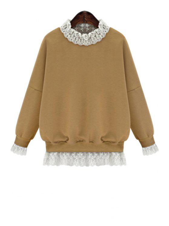 fancy Lace Splicing Long Sleeves Sweatshirt - KHAKI XL