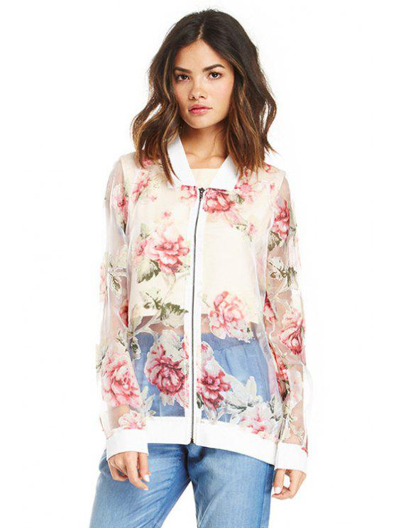 Floral Print See-Through Jacket - Transparent S