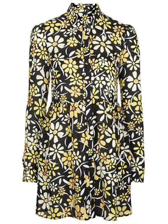 buy Polo Collar Floral Print Dress - COLORMIX S
