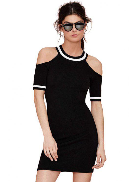sale Off-The-Shoulder Color Block Dress - BLACK XS