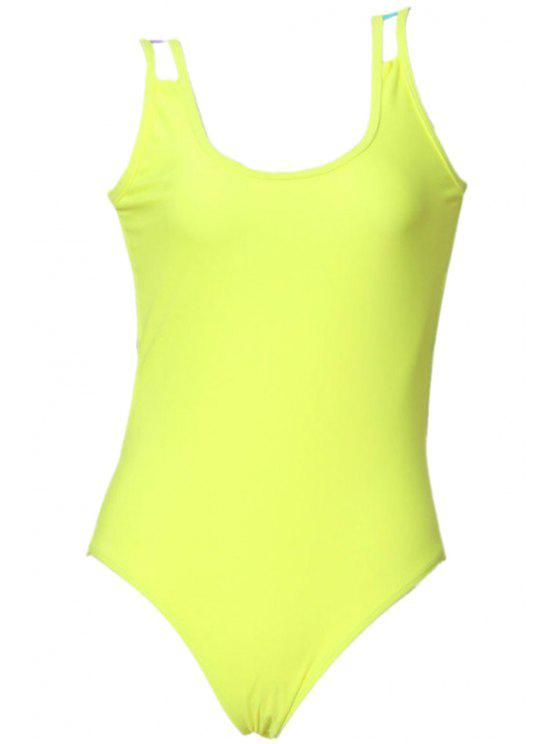 outfits Colorful Rope Splicing One-Piece Swimwear - FLUORESCENT YELLOW S