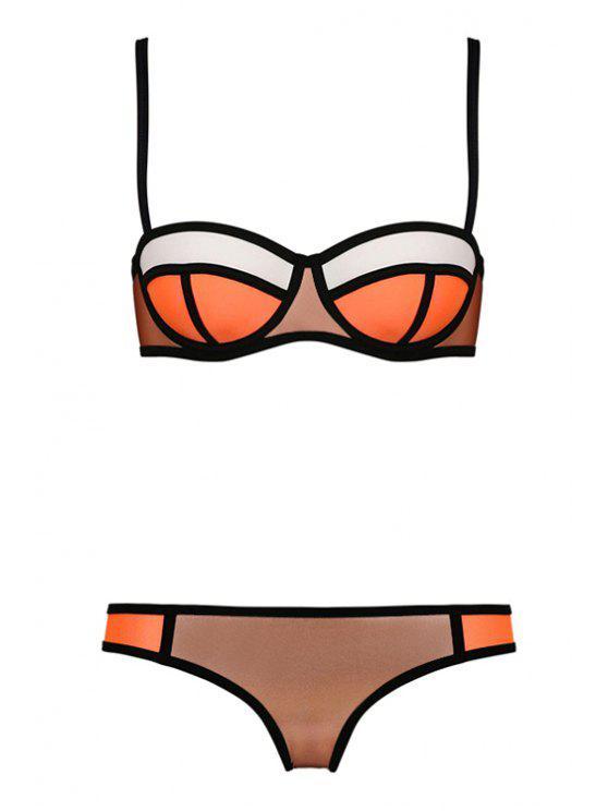 sale Color Block Plaid Bikini Set - COFFEE S