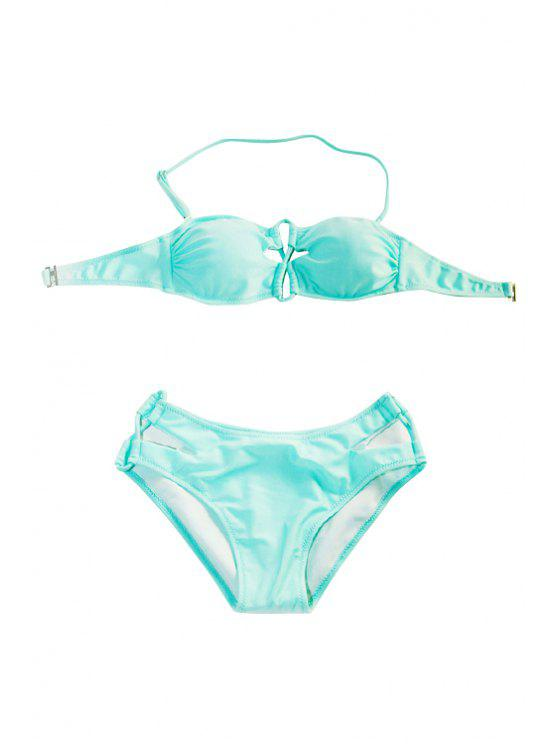 unique Openwork Solid Color Bikini Set - LIGHT BLUE M