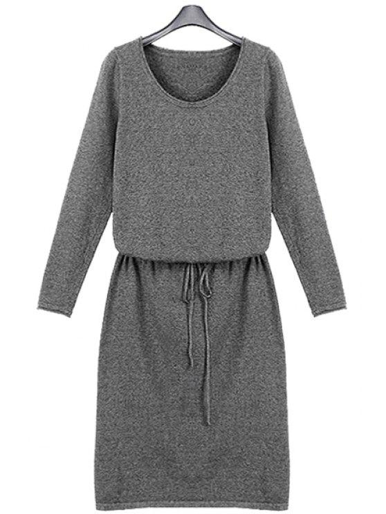 fancy Solid Color Long Sleeve Knit Dress - LIGHT GRAY S