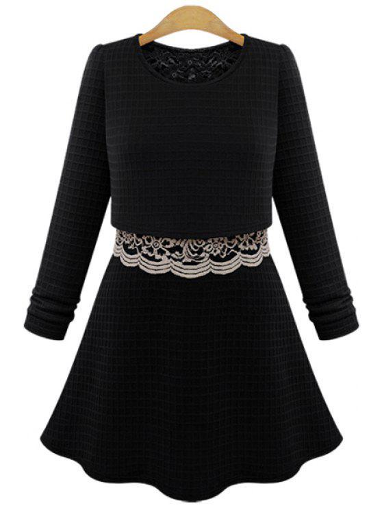 best Lace Splicing Long Sleeve Knit Dress - BLACK S