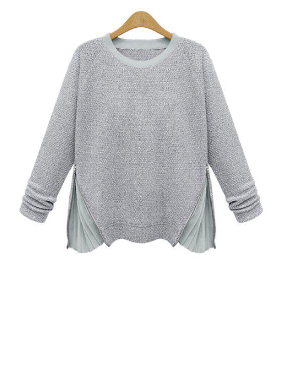 outfit Chiffon Splicing Zipper Knitwear - LIGHT GRAY 2XL