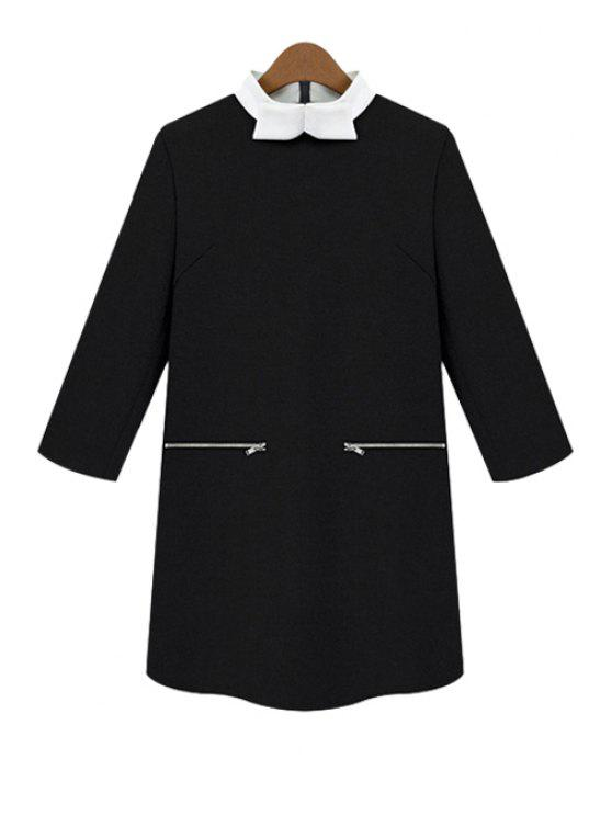 womens Color Block Bowknot Dress - BLACK M