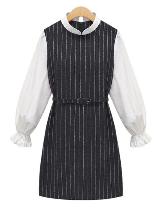 lady Striped Splicing Long Sleeve Dress - GRAY S