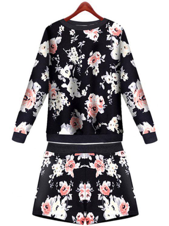 sale Floral Pattern Sweatshirt and Shorts Suit - BLACK S