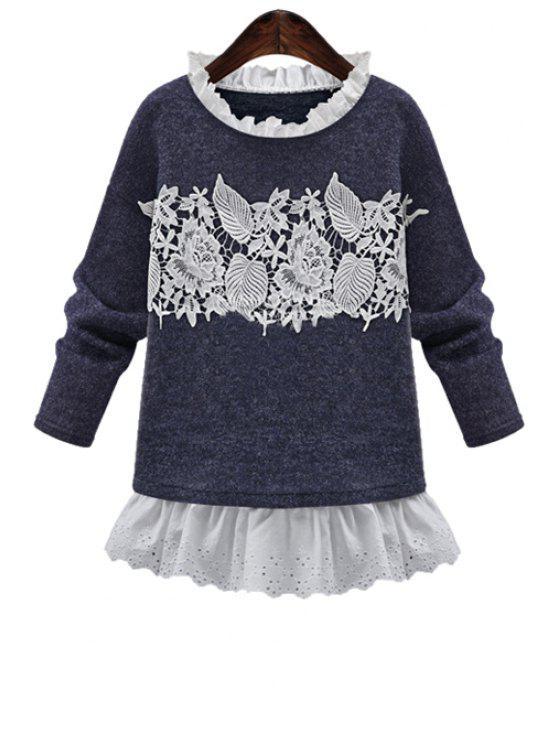 outfit Crochet Flower Splicing Sweatshirt - BLUE L