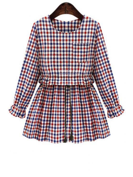 fashion Checked Long Sleeve Blouse - RED S