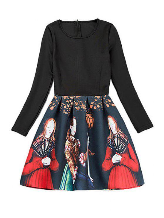 women Figure Print Splicing Dress - BLACK S