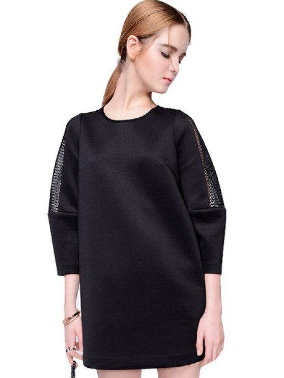 lady Hollow Splicing 3/4 Sleeve Dress - BLACK XL