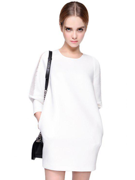 chic Hollow Splicing 3/4 Sleeve Dress - WHITE S