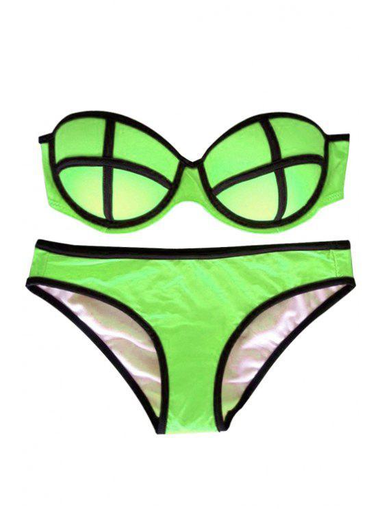 fashion Color Block Push-Up Bikini Set - GREEN L