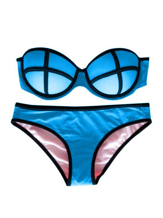 lady Color Block Push-Up Bikini Set - LAKE BLUE L