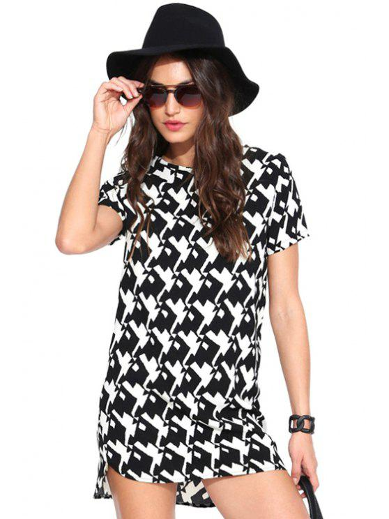 affordable Print Short Sleeves Dress - WHITE AND BLACK L
