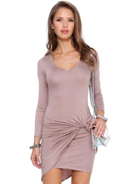 chic Solid Color Nine-Minute Sleeves Dress - PINK S