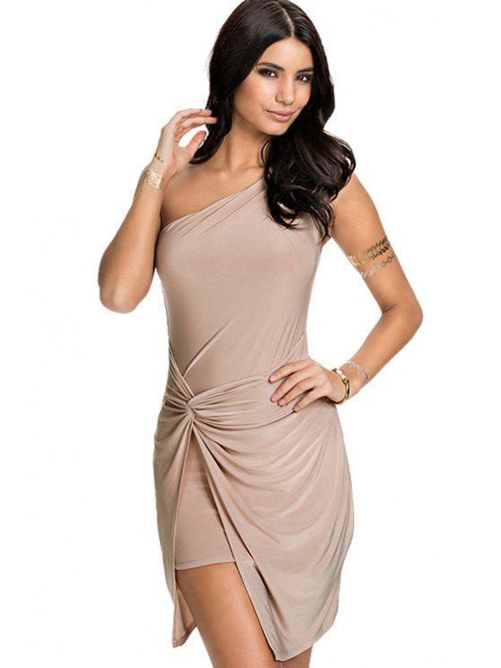 ladies Solid Color Sloping Shoulder Dress - KHAKI S