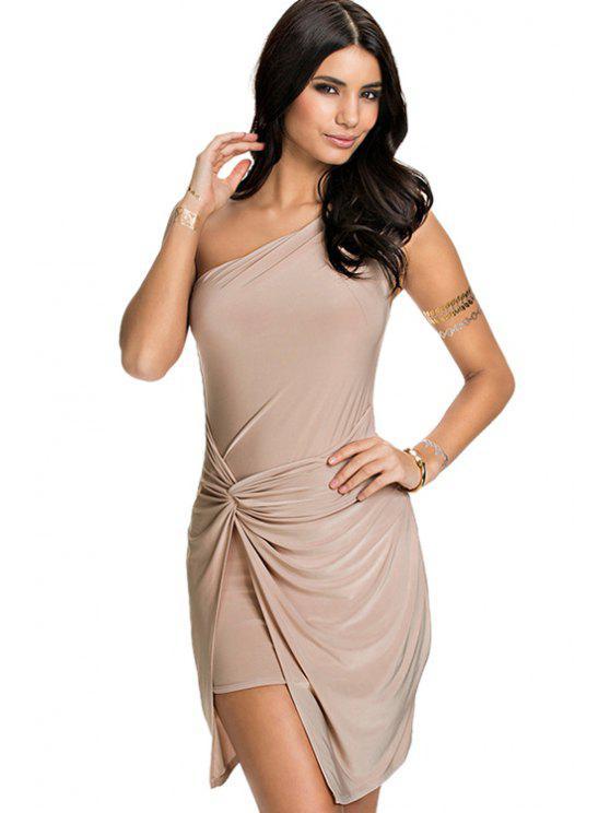 ladies Solid Color Sloping Shoulder Dress - KHAKI S