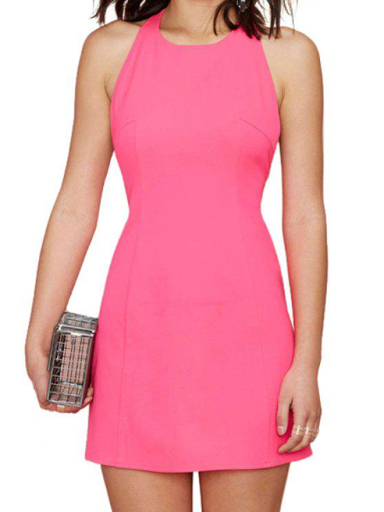 latest Pink Sleeveless Dress - PINK M
