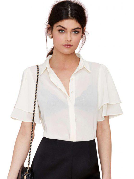 Blanc en mousseline de soie à manches courtes T-shirt - Blanc 2XL