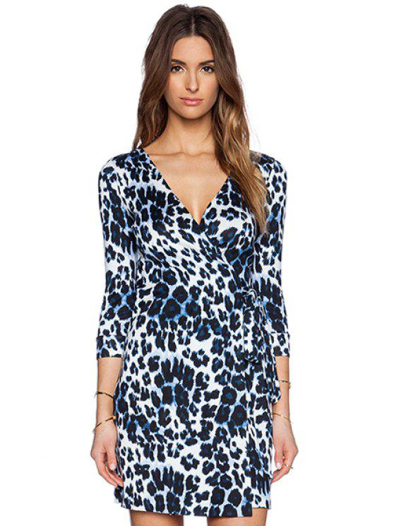 women's Leopard Print 3/4 Sleeves Dress - LEOPARD S