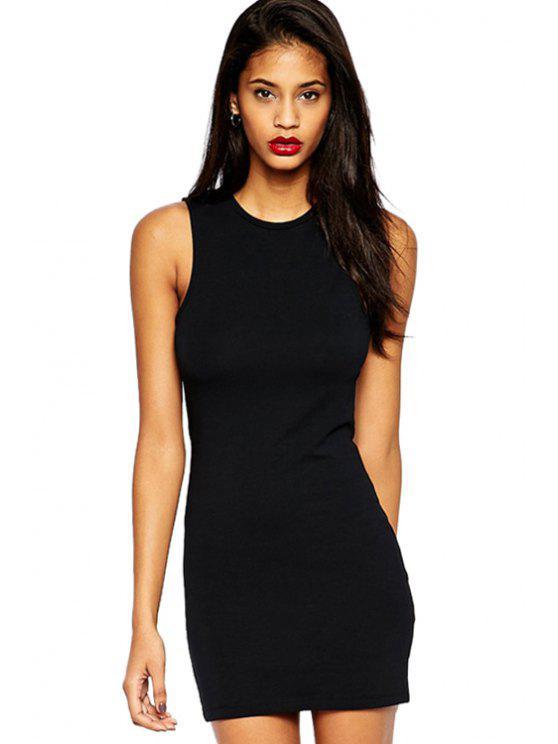 women's Black Hollow Sundress - BLACK S