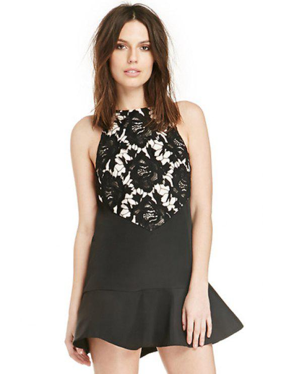 online Floral Pattern Flounce Splicing Dress - BLACK XS