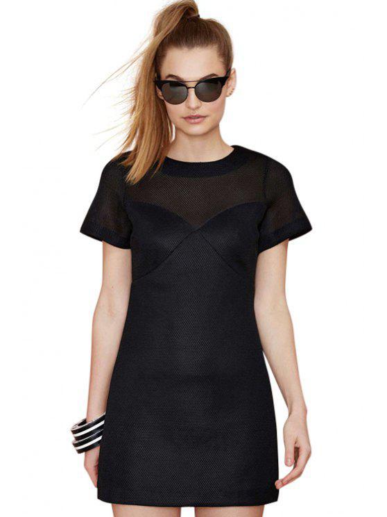 buy Black Mesh Short Sleeve Dress - BLACK S