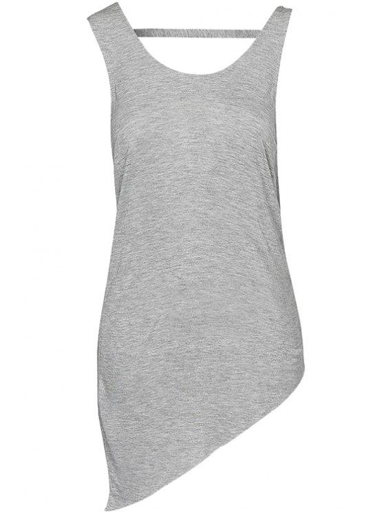best Solid Color Backless Tank Top - GRAY L