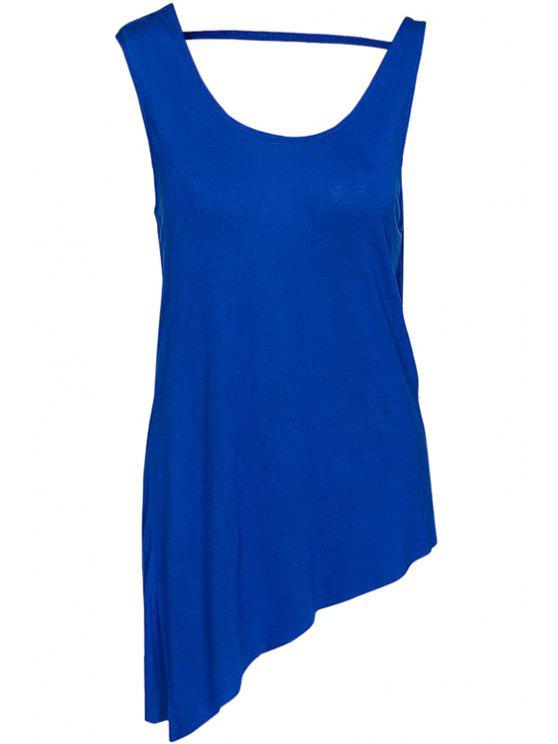 online Solid Color Backless Tank Top - BLUE M