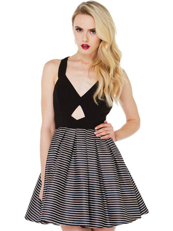 outfit Striped Splicing Bowknot Dress - BLACK S