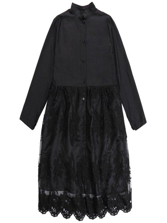 outfits Lace Splicing Shirt Collar Dress - BLACK ONE SIZE(FIT SIZE XS TO M)