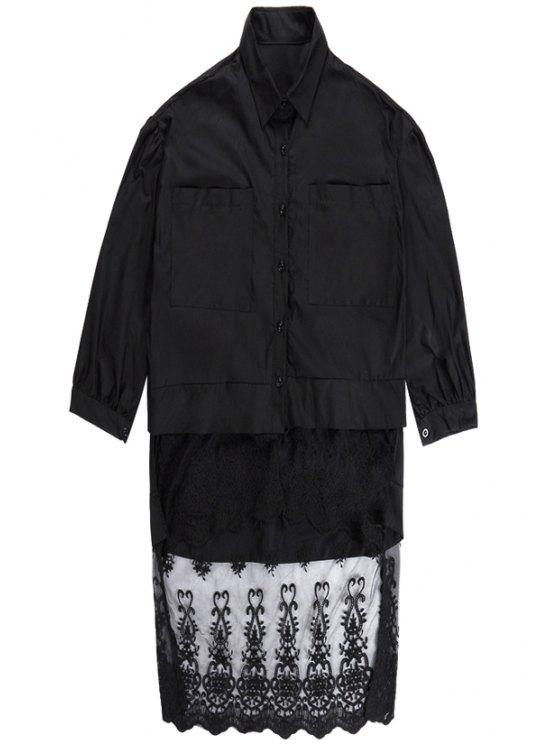 ladies Lace Splicing Shirt Neck Dress - BLACK ONE SIZE(FIT SIZE XS TO M)