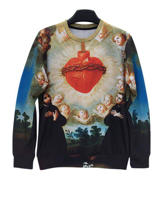 hot Long Sleeves Figure Print Sweatshirt - COLORMIX ONE SIZE(FIT SIZE XS TO M)