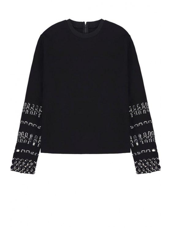 outfit Black Beading Long Sleeve Sweatshirt - BLACK ONE SIZE(FIT SIZE XS TO M)