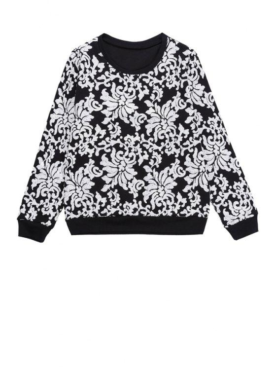 shop Floral Pattern Sequins Sweatshirt - BLACK ONE SIZE(FIT SIZE XS TO M)