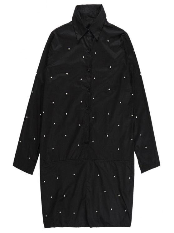 chic Beading Long Sleeve Dress - BLACK ONE SIZE(FIT SIZE XS TO M)