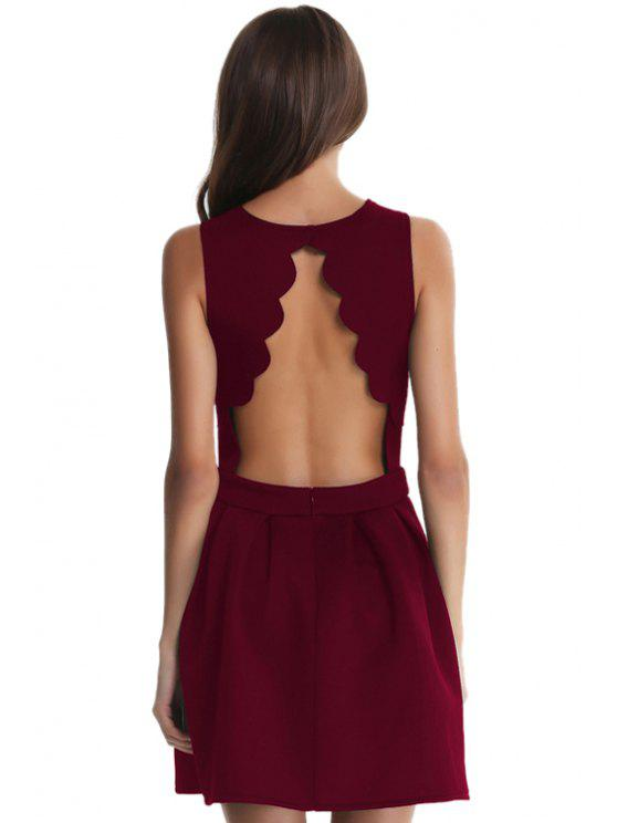 outfit Backless Ruffle Sleeveless Dress - WINE RED S