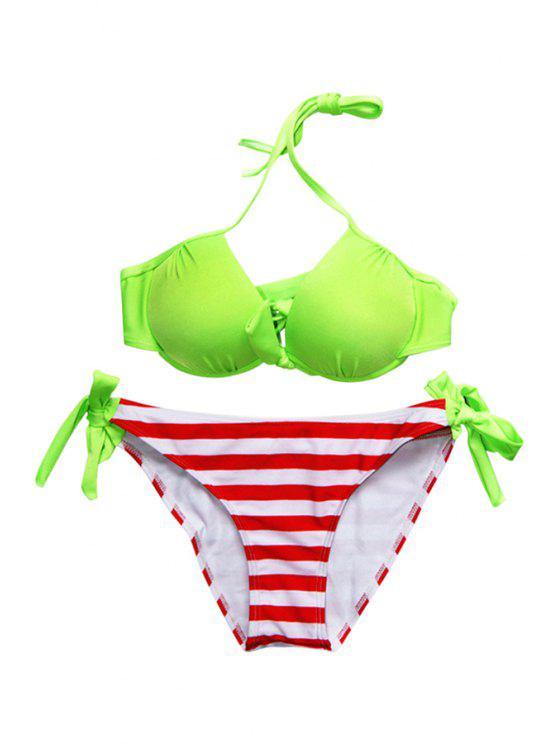 latest Striped Side-Tie Bikini Set - NEON GREEN S