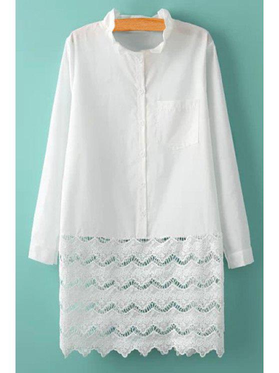 latest Lace Splicing Solid Color Dress - WHITE ONE SIZE(FIT SIZE XS TO M)