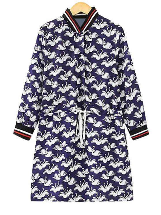 outfits Swans Print Long Sleeve Dress - BLUE L
