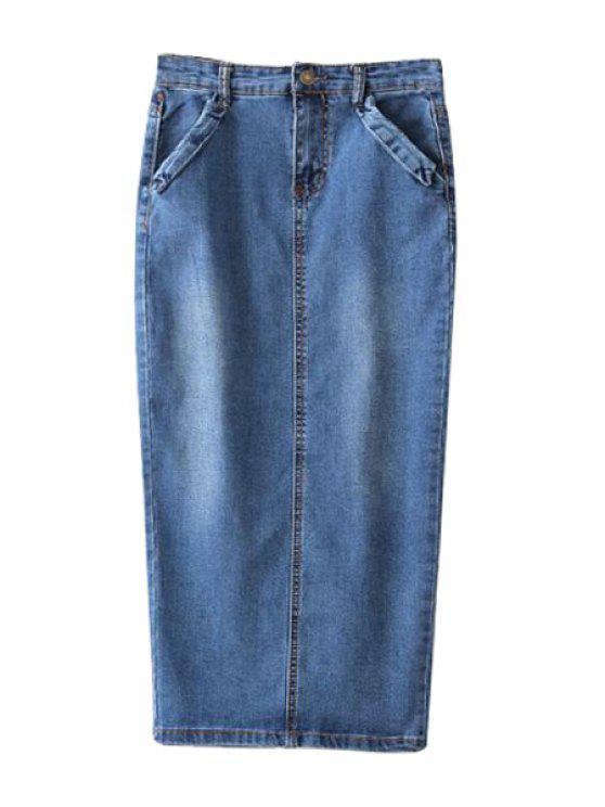 shop Bleach Wash Back Slit Denim Skirt - BLUE S