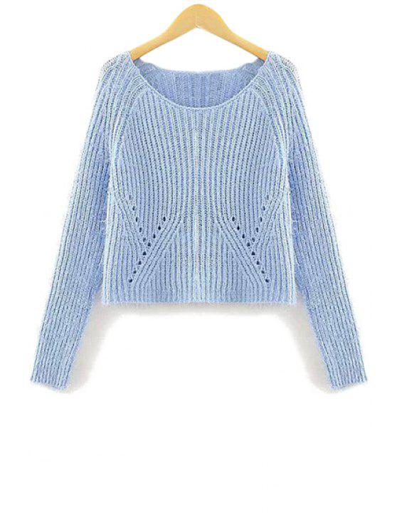 online Openwork Solid Color Long Sleeve Sweater - BLUE S