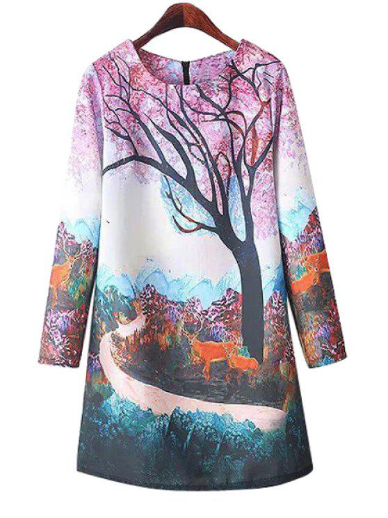 shops Animal and Tree Print Long Sleeve Dress - COLORMIX S