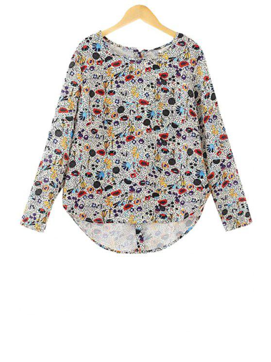 new Colorful Print Asymmetrical Shirt - COLORMIX S