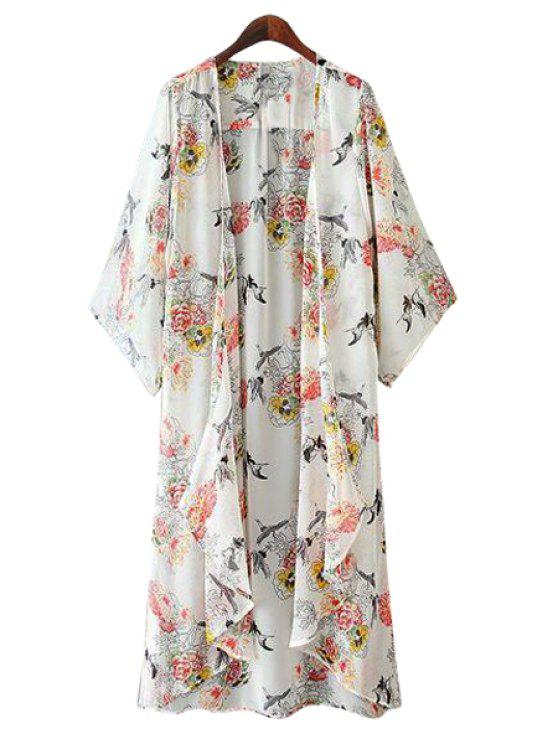 shops Red-Crowned Crane Print 3/4 Sleeve Coat - WHITE S